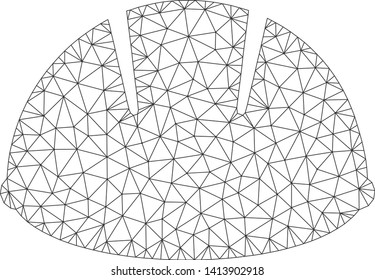 Mesh builder helmet polygonal 2d vector illustration. Carcass model is based on builder helmet flat icon. Triangular mesh forms abstract builder helmet flat carcass.