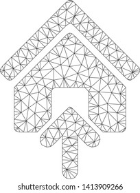 Mesh building entrance polygonal icon vector illustration. Carcass model is based on building entrance flat icon. Triangular network forms abstract building entrance flat carcass.