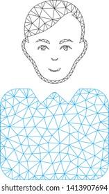 Mesh bureaucrat polygonal icon vector illustration. Carcass model is based on bureaucrat flat icon. Triangular network forms abstract bureaucrat flat carcass.