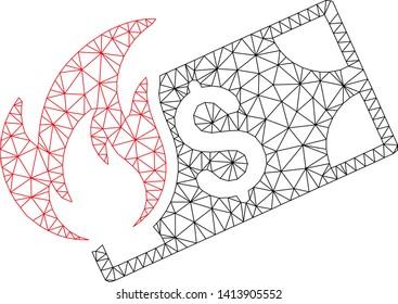 Mesh burn dollar banknote polygonal symbol vector illustration. Carcass model is based on burn dollar banknote flat icon. Triangle mesh forms abstract burn dollar banknote flat model.