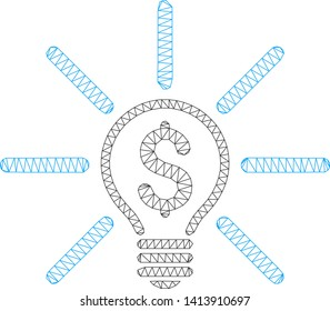 Mesh business idea bulb polygonal icon vector illustration. Carcass model is based on business idea bulb flat icon. Triangle mesh forms abstract business idea bulb flat carcass.