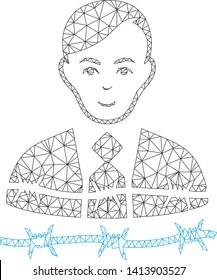 Mesh businessman arrest polygonal icon vector illustration. Carcass model is based on businessman arrest flat icon. Triangular mesh forms abstract businessman arrest flat carcass.