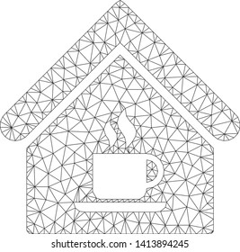 Mesh cafe house polygonal icon vector illustration. Carcass model is based on cafe house flat icon. Triangle network forms abstract cafe house flat carcass.