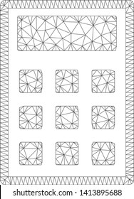 Mesh calculator polygonal icon vector illustration. Carcass model is created from calculator flat icon. Triangular network forms abstract calculator flat carcass.