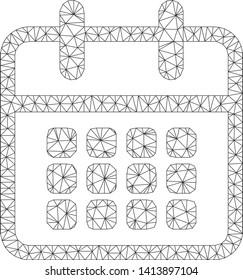 Mesh calendar polygonal icon vector illustration. Carcass model is based on calendar flat icon. Triangular net forms abstract calendar flat carcass.