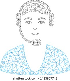 Mesh call center guy polygonal 2d vector illustration. Carcass model is based on call center guy flat icon. Triangle network forms abstract call center guy flat carcass.