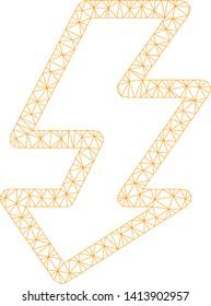 Mesh camera flash polygonal symbol vector illustration. Carcass model is based on camera flash flat icon. Triangular net forms abstract camera flash flat carcass.