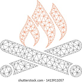 Mesh campfire polygonal icon vector illustration. Carcass model is based on campfire flat icon. Triangular net forms abstract campfire flat carcass.