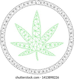 Mesh cannabis polygonal icon vector illustration. Carcass model is based on cannabis flat icon. Triangular net forms abstract cannabis flat carcass.