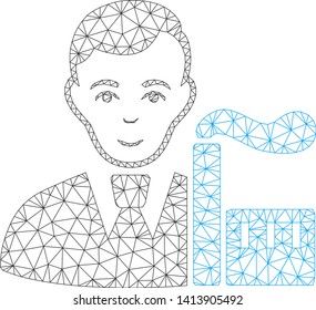 Mesh capitalist oligarch polygonal symbol vector illustration. Abstraction is based on capitalist oligarch flat icon. Triangle mesh forms abstract capitalist oligarch flat model.