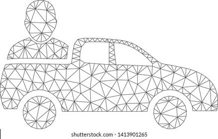 Mesh car passenger polygonal 2d vector illustration. Carcass model is based on car passenger flat icon. Triangular network forms abstract car passenger flat carcass.