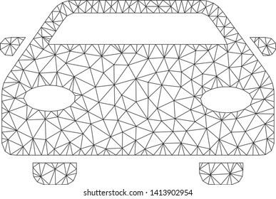 Mesh car polygonal symbol vector illustration. Carcass model is based on car flat icon. Triangle mesh forms abstract car flat carcass.