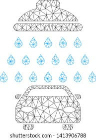 Mesh car shower polygonal icon vector illustration. Carcass model is created from car shower flat icon. Triangular mesh forms abstract car shower flat carcass.