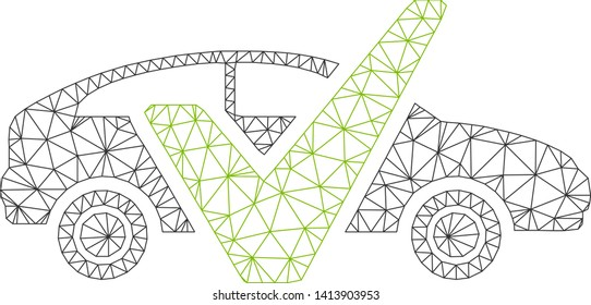 Mesh car test polygonal icon vector illustration. Carcass model is created from car test flat icon. Triangular mesh forms abstract car test flat carcass.