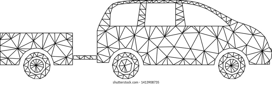 Mesh car trailer polygonal 2d vector illustration. Carcass model is based on car trailer flat icon. Triangle network forms abstract car trailer flat carcass.