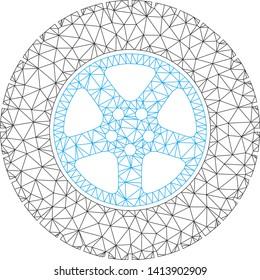 Mesh car wheel polygonal icon vector illustration. Carcass model is based on car wheel flat icon. Triangular network forms abstract car wheel flat carcass.