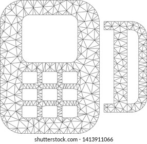 Mesh card terminal polygonal 2d vector illustration. Carcass model is based on card terminal flat icon. Triangular mesh forms abstract card terminal flat carcass.