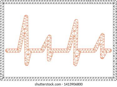 Mesh cardiogram polygonal 2d vector illustration. Model is created from cardiogram flat icon. Triangle mesh forms abstract cardiogram flat model.