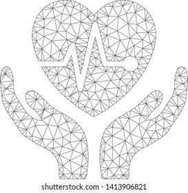 Mesh cardiology care hands polygonal 2d vector illustration. Carcass model is based on cardiology care hands flat icon. Triangle mesh forms abstract cardiology care hands flat carcass.
