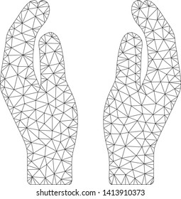 Mesh care hands polygonal icon vector illustration. Carcass model is based on care hands flat icon. Triangular mesh forms abstract care hands flat carcass.