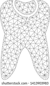 Mesh caries tooth polygonal icon vector illustration. Carcass model is based on caries tooth flat icon. Triangular network forms abstract caries tooth flat carcass.