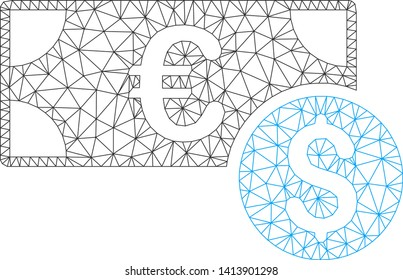 Mesh cash polygonal 2d vector illustration. Carcass model is based on cash flat icon. Triangular mesh forms abstract cash flat carcass.