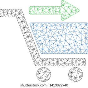 Mesh check out cart polygonal icon vector illustration. Carcass model is created from check out cart flat icon. Triangular mesh forms abstract check out cart flat carcass.