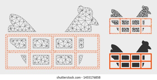 Mesh chicken cage model with triangle mosaic icon. Wire carcass triangular mesh of chicken cage. Vector mosaic of triangle elements in various sizes, and color tinges. Abstract 2d mesh chicken cage,