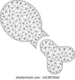 Mesh chicken leg polygonal icon vector illustration. Model is based on chicken leg flat icon. Triangular network forms abstract chicken leg flat model.