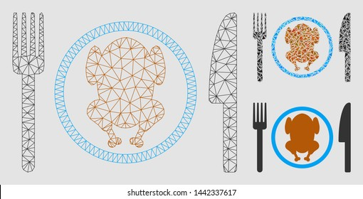 Mesh chicken meal model with triangle mosaic icon. Wire carcass triangular network of chicken meal. Vector collage of triangle parts in variable sizes and color tints. Abstract flat mesh chicken meal,