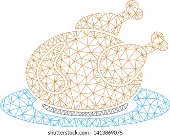 Mesh chicken meal polygonal symbol vector illustration. Carcass model is based on chicken meal flat icon. Triangular network forms abstract chicken meal flat carcass.