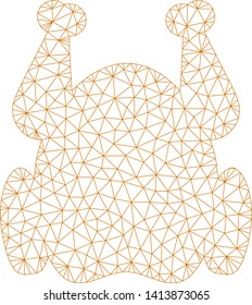 Mesh chicken polygonal symbol vector illustration. Carcass model is based on chicken flat icon. Triangular network forms abstract chicken flat model.