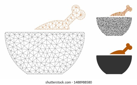 Mesh chicken soup model with triangle mosaic icon. Wire carcass triangular mesh of chicken soup. Vector mosaic of triangle parts in variable sizes, and color tinges. Abstract flat mesh chicken soup,
