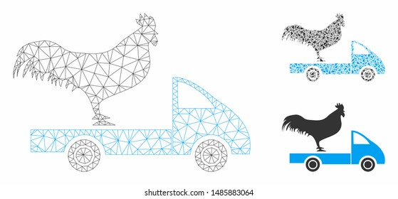 Mesh chicken transport car model with triangle mosaic icon. Wire carcass triangular mesh of chicken transport car. Vector mosaic of triangle parts in variable sizes, and color tinges.