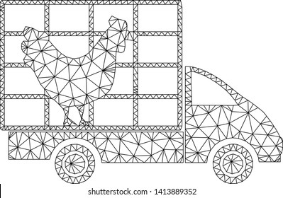 Mesh chicken wagon polygonal icon vector illustration. Model is based on chicken wagon flat icon. Triangular network forms abstract chicken wagon flat model.