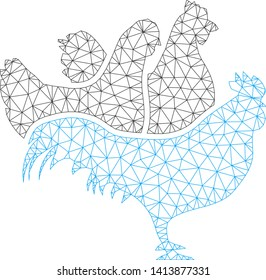 Mesh chickens polygonal icon vector illustration. Carcass model is based on chickens flat icon. Triangle net forms abstract chickens flat model.