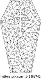Mesh christian coffin polygonal symbol vector illustration. Carcass model is based on christian coffin flat icon. Triangular network forms abstract christian coffin flat model.
