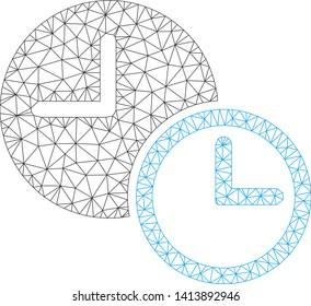 Mesh clocks polygonal icon vector illustration. Carcass model is based on clocks flat icon. Triangular network forms abstract clocks flat carcass.