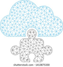 Mesh cloud component polygonal icon vector illustration. Abstraction is based on cloud component flat icon. Triangular network forms abstract cloud component flat carcass.