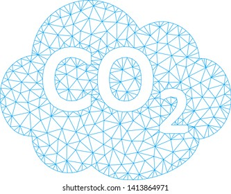 Mesh co2 cloud polygonal icon vector illustration. Carcass model is created from co2 cloud flat icon. Triangle mesh forms abstract co2 cloud flat carcass.