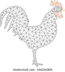 Mesh cock polygonal 2d vector illustration. Carcass model is based on cock flat icon. Triangular mesh forms abstract cock flat model.