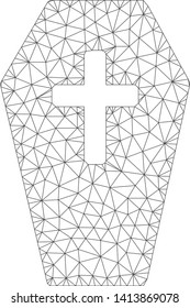 Mesh coffin polygonal icon vector illustration. Carcass model is created from coffin flat icon. Triangle network forms abstract coffin flat model.