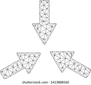 Mesh collide 3 arrows polygonal symbol vector illustration. Carcass model is based on collide 3 arrows flat icon. Triangle mesh forms abstract collide 3 arrows flat model.