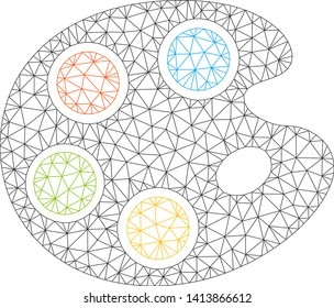 Mesh color palette polygonal 2d vector illustration. Carcass model is based on color palette flat icon. Triangle network forms abstract color palette flat model.