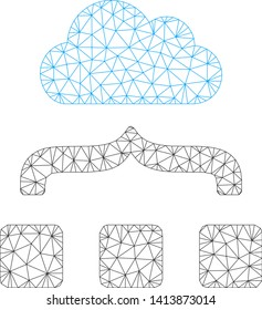 Mesh combine cloud polygonal icon vector illustration. Model is based on combine cloud flat icon. Triangular mesh forms abstract combine cloud flat model.