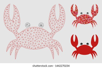 Mesh crab model with triangle mosaic icon. Wire carcass triangular mesh of crab. Vector composition of triangle elements in different sizes and color tones.