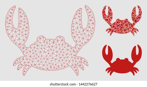 Mesh crab model with triangle mosaic icon. Wire frame triangular mesh of crab. Vector mosaic of triangle parts in different sizes and color tints. Abstract flat mesh designed with triangular lines.