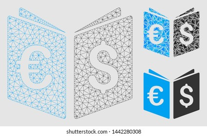 Mesh currency book model with triangle mosaic icon. Wire carcass polygonal mesh of currency book. Vector mosaic of triangle elements in variable sizes and color tones.