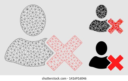 Mesh delete user model with triangle mosaic icon. Wire frame polygonal mesh of delete user. Vector collage of triangle parts in different sizes and color shades.