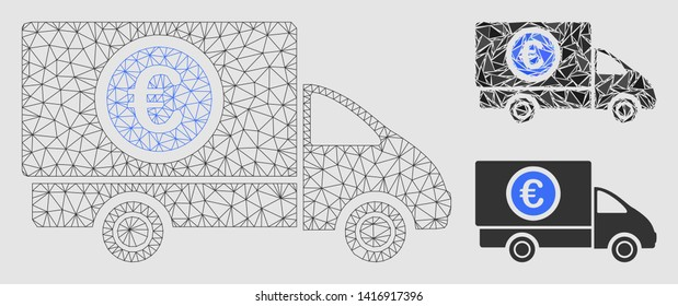 Mesh delivery cost model with triangle mosaic icon. Wire frame triangular mesh of delivery cost. Vector mosaic of triangle elements in variable sizes and color tinges.